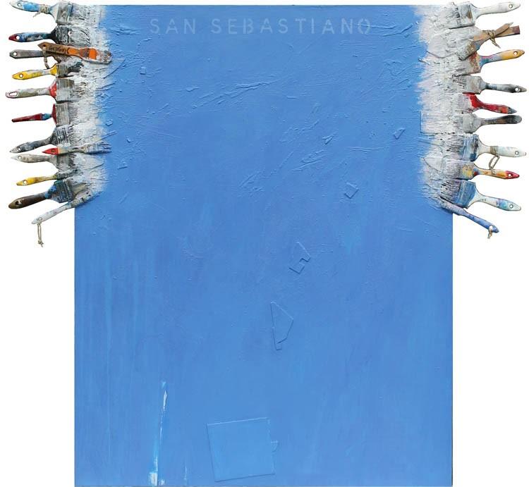 07 San Sebastiano, (1984) 2013. akrilik-asamblaž na platnu, 130 X 140 cm.
