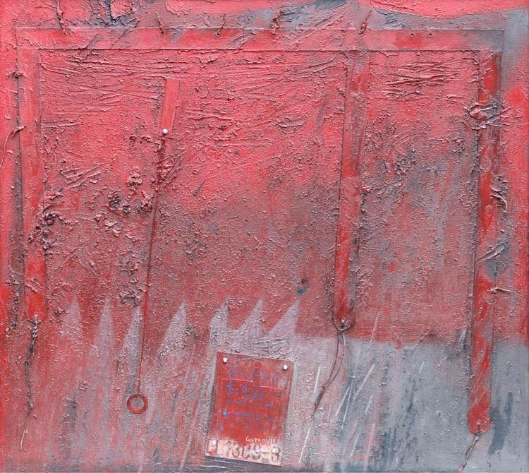 14 Iz zapisa armižadura, 2014. akrilik-asamblaž na platnu, 90 X 100 cm (1)