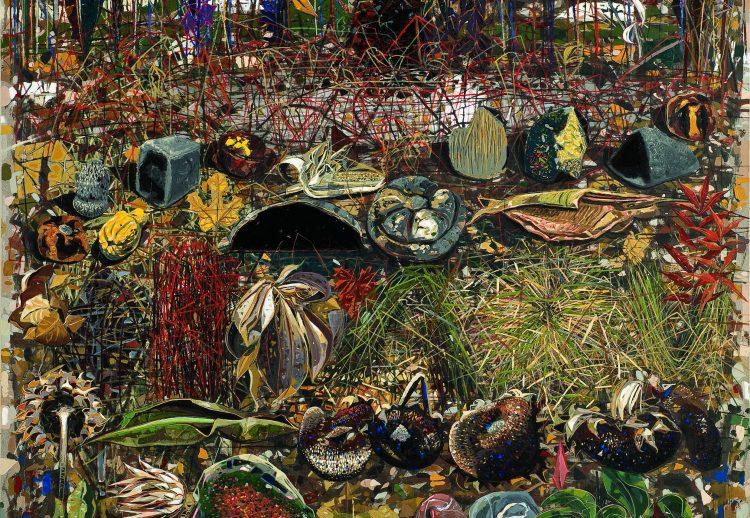 5.  Zapisi na povraini zemlje - jesen, 2007. god.  akrilik na platnu 158 x 158 cm