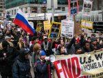 ТАЛАС ТЕК ДОЛАЗИ: Руске заставе и песница Отпора од Њујорка до Лондона