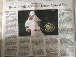 "Амерички часопис објавио најбољи текст о Новаку: ""Недостајао си тенису!"""